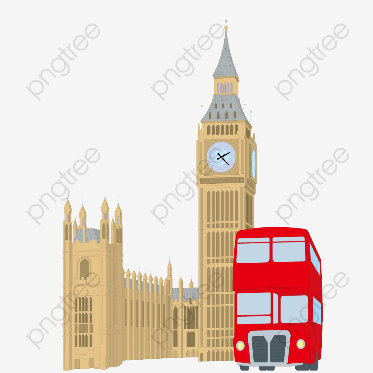 Big Ben London Bus Creatives, Big Ben, London Buses, Vector.