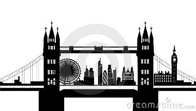 London bridge silhouette clipart.