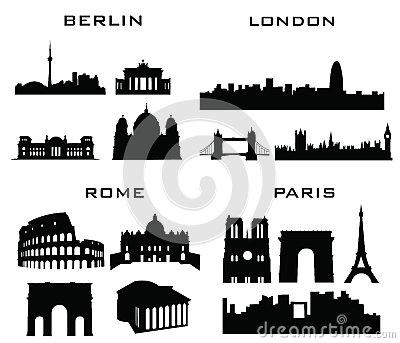 London Berlin Rome Paris Royalty Free Stock Photography.