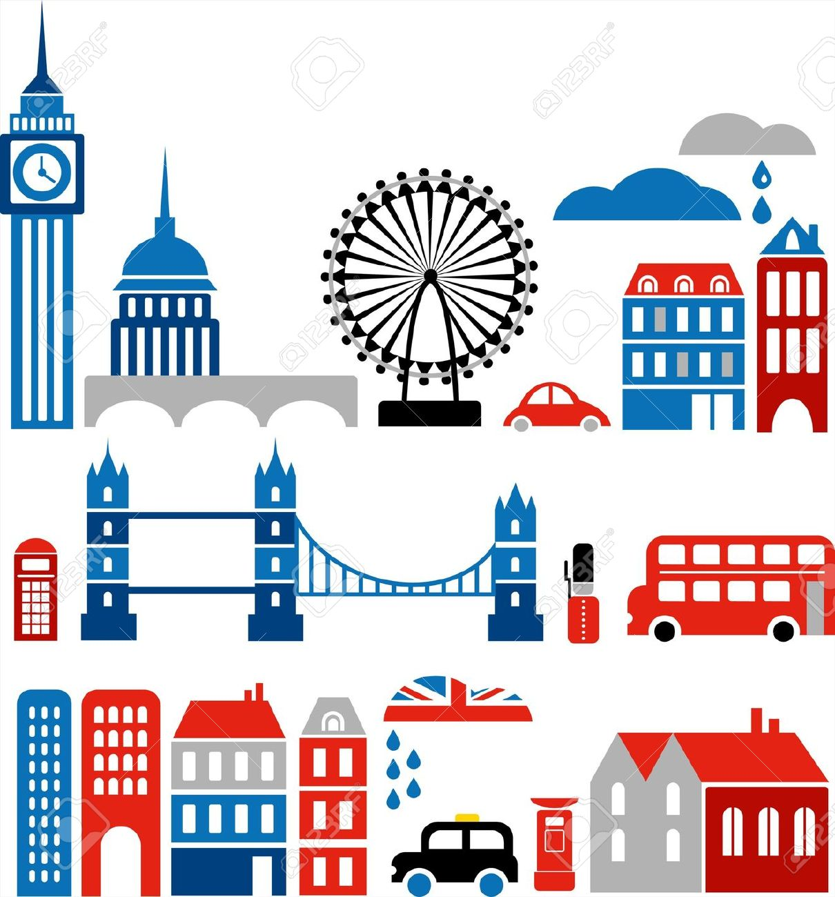 Illustration Of London With Colorful Icons Of Route Master Buses.