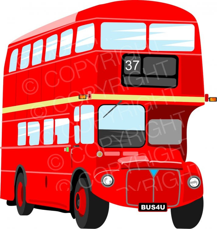 Red London Double Decker Bus Prawny Transport Clip Art.