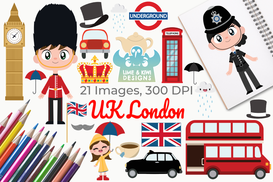 UK London Clipart, Instant Download Vector Art.