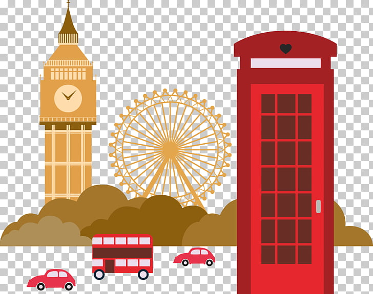 London Illustration, London Landmarks, red car illustration.
