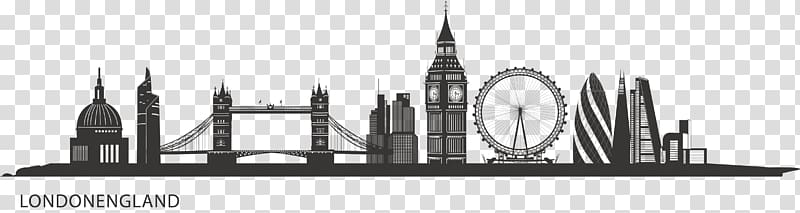 London England landmark illustration, Central London Skyline.