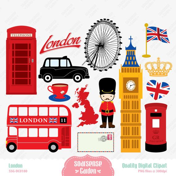 London Digital Clipart England Clipart by SSGARDEN on Etsy.