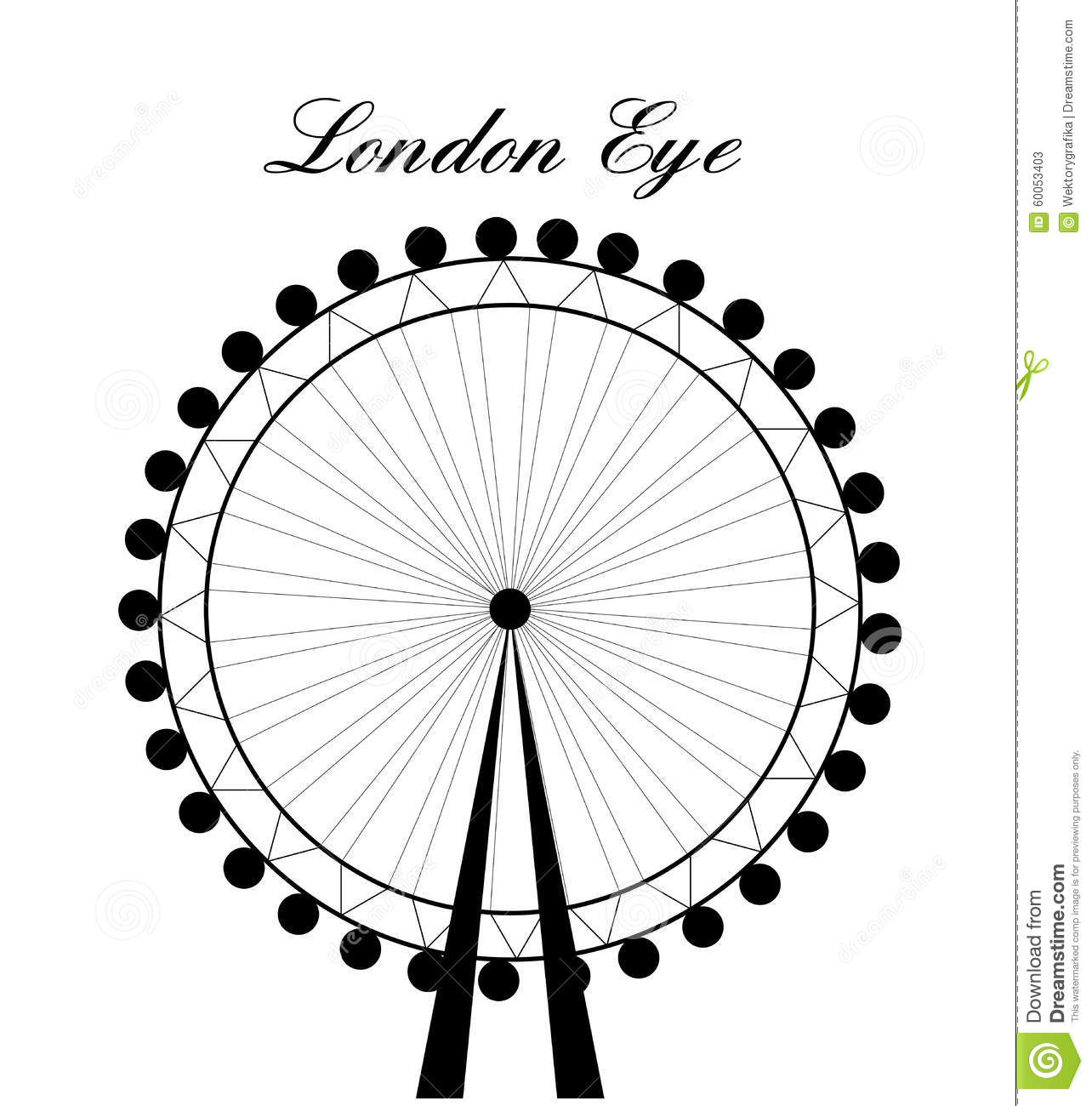 Image Of Cartoon London Eye Silhouette With Sign.Vector.