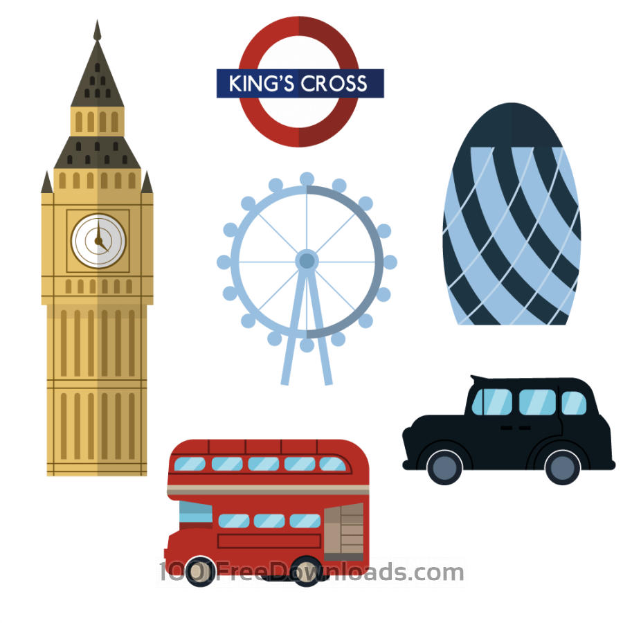 Free Vectors: London icons and elements.