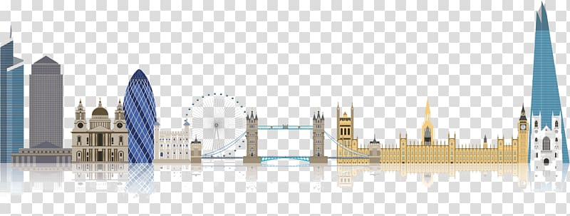City illustration, London Landmarks transparent background.