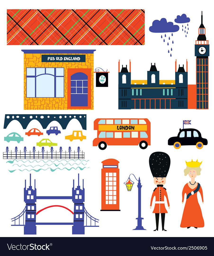 London landmarks and symbol set funny design.