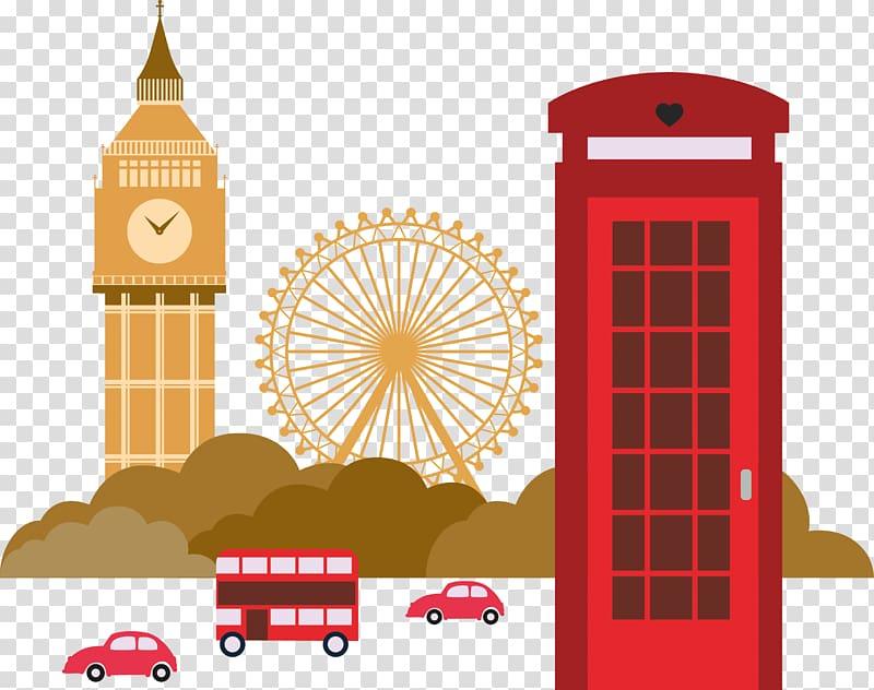 Red car illustration, London Illustration, London Landmarks.