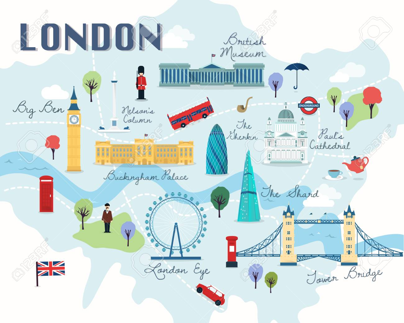 Map Of London Attractions Vector And Illustration..