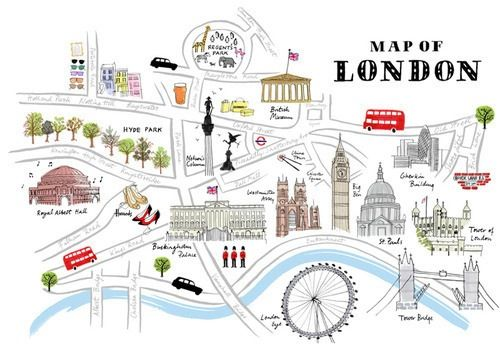 Map of London. Cartoon..
