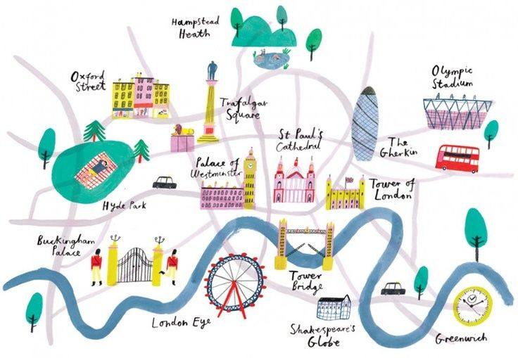 London landmark map by Charlotte Trounce.
