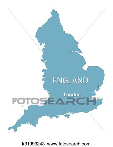 Blue vector map of England with indication of London Clipart.