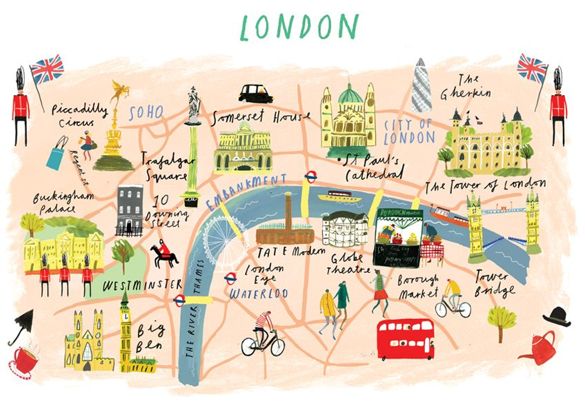 Clair Rossiter, illustrated London map for The Art Group.