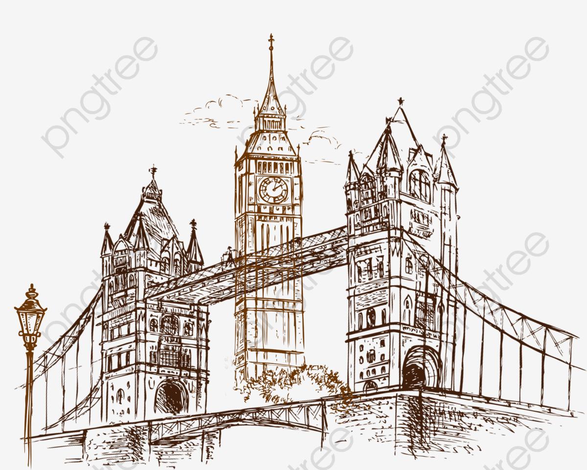 London Bridge, London Clipart, Bridge Clipart, Sketch.