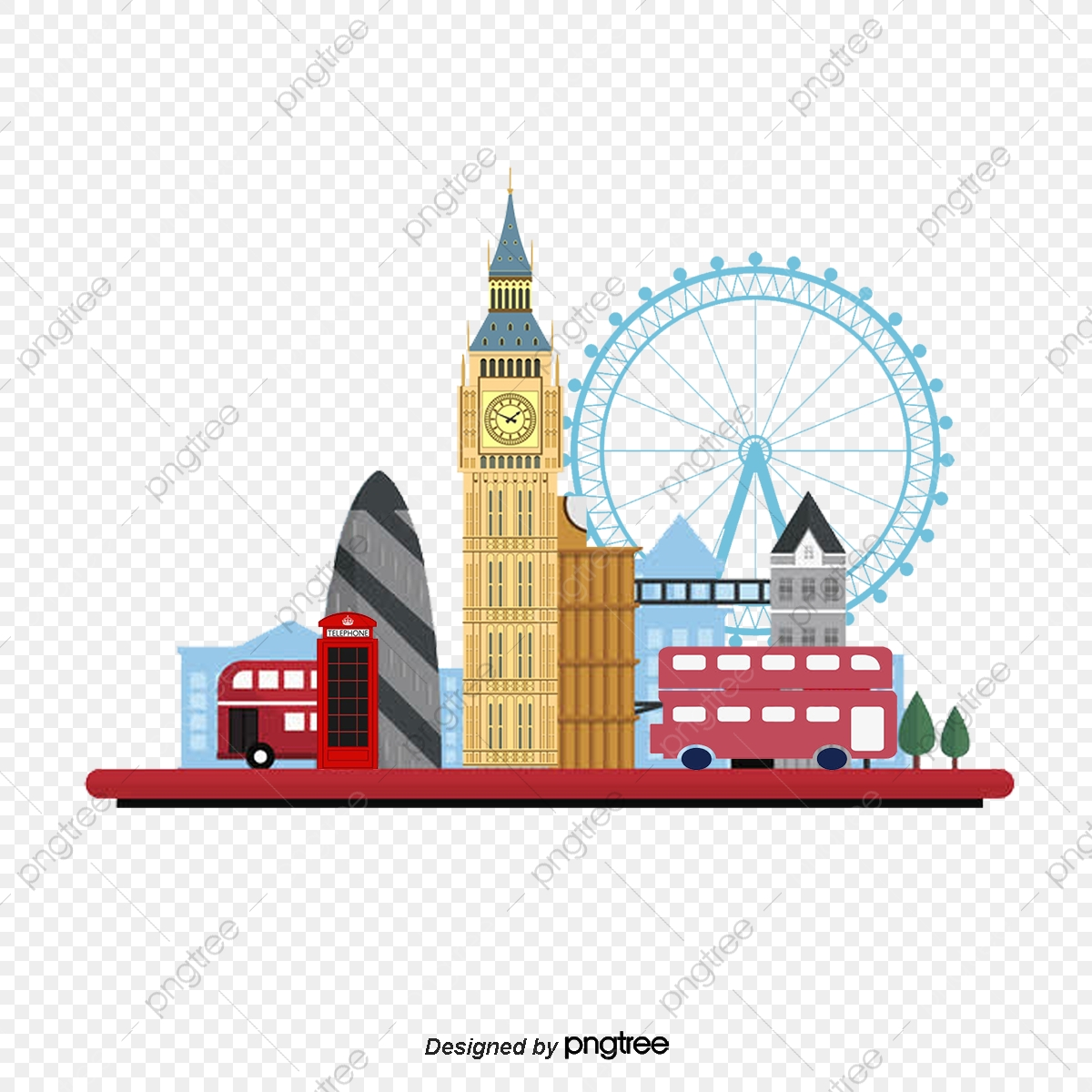 Vector London, London Vector, Big Ben, Telephone Booth PNG.
