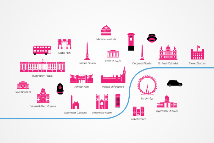 London Attractions and Sights Vector Icons (Free).
