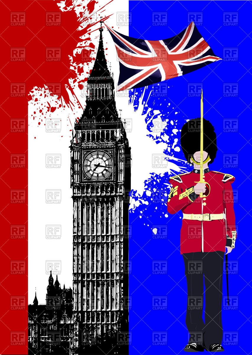 Brochure with London sights: Big Ben and beefeater with UK flag.