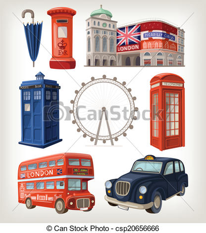 Stock Illustration of Famous London sights and retro elements of.