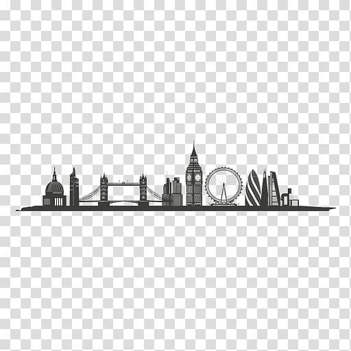 London Skyline Silhouette Graphic design, london transparent.