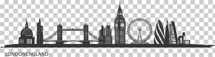 Central London Skyline Silhouette Painting City of London.