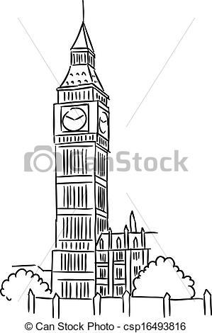 Vector Clip Art of Big Ben in London.