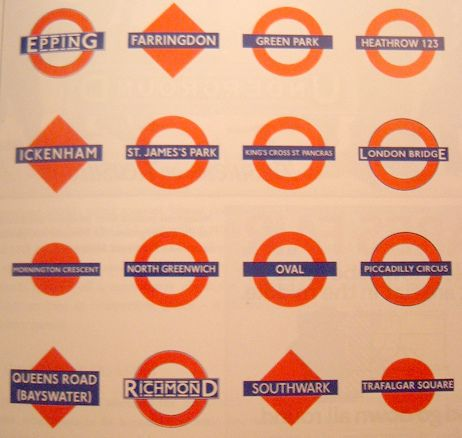 Variety of London Underground Logos and Roundels in 2019.
