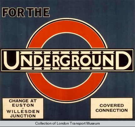 The London Underground roundel.