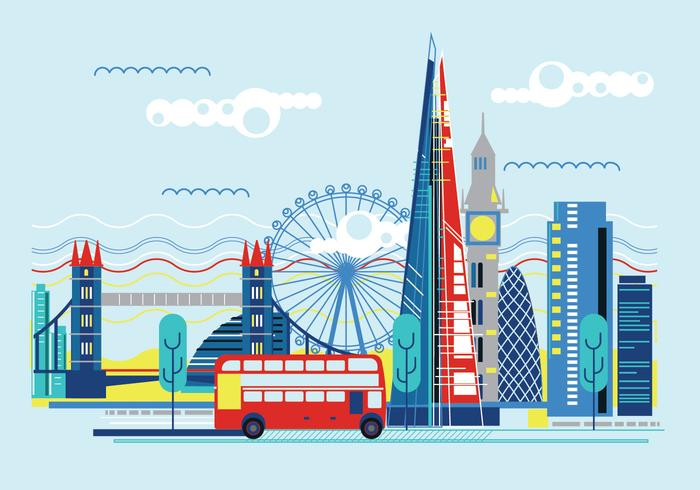 Vector Illustration The Shard and The London Skyline.