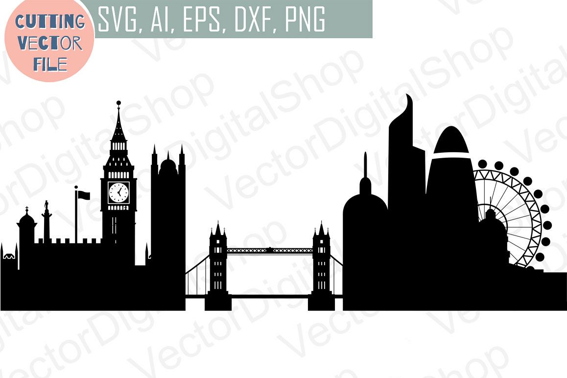 London Skyline Vector, England city, SVG, JPG, PNG, DWG, CDR, EPS, AI.