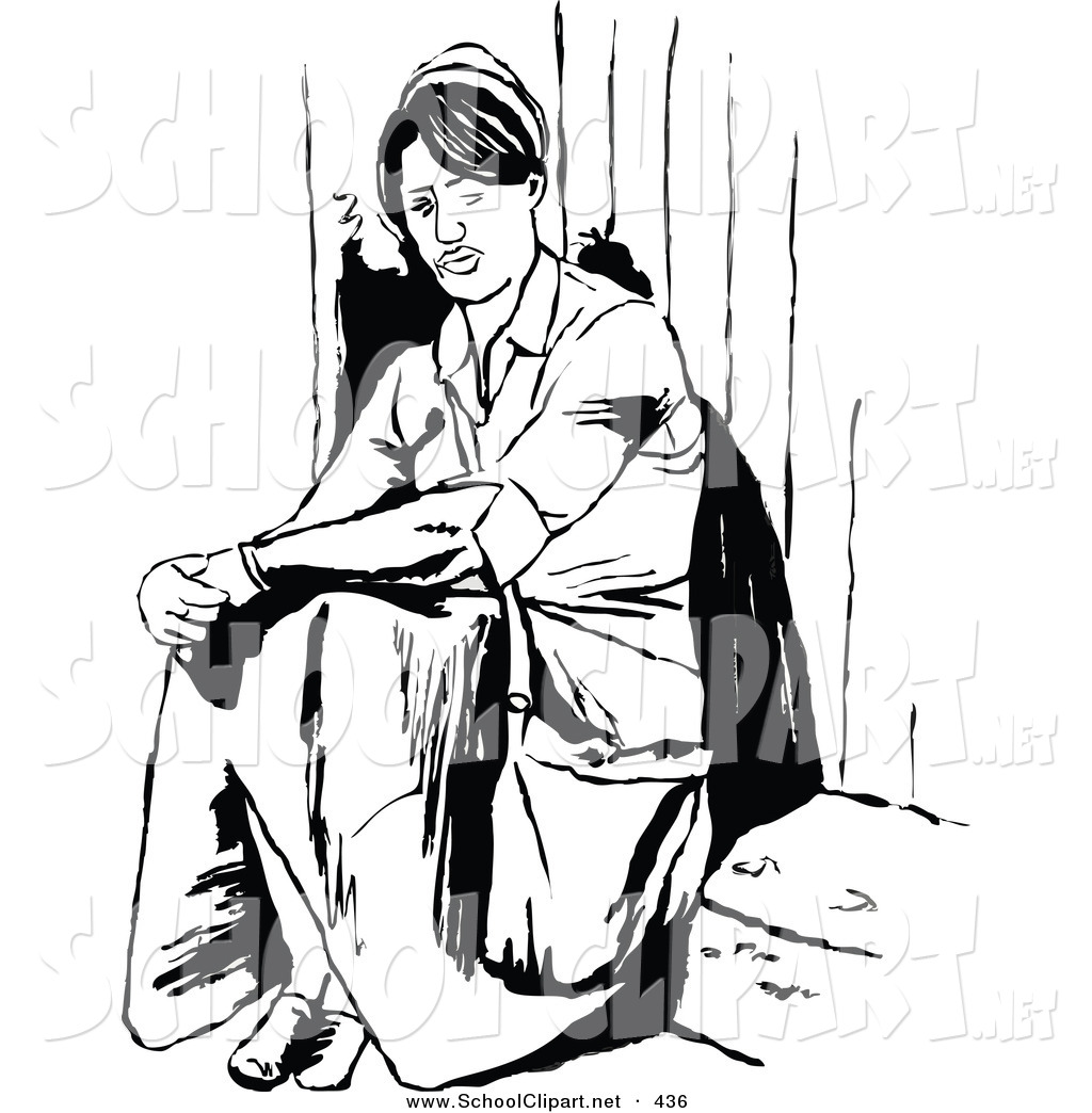 Clip Art of a Black and White Coloring Page Outline of a Lone.