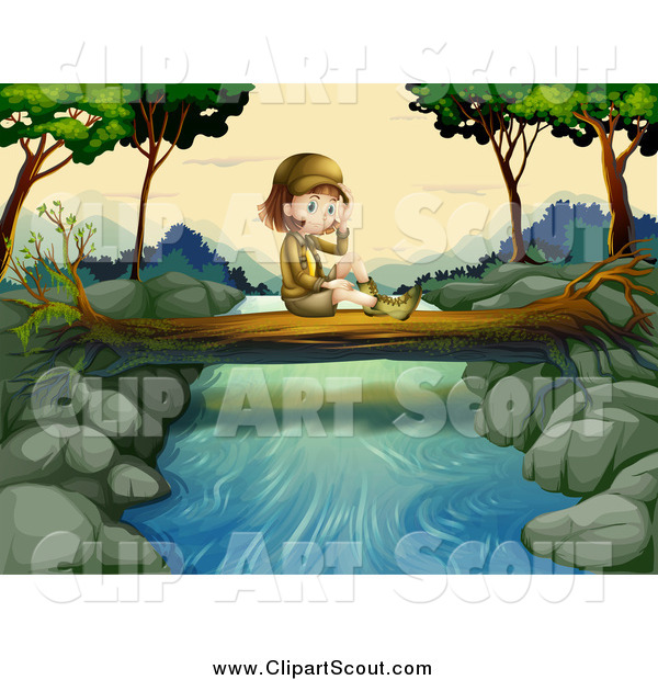 Clipart of a Lone Explorer Girl Sitting on a Log over a River by.