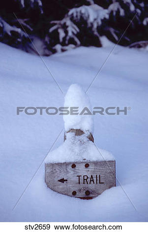 Stock Photograph of Trail sign in the Lone Peak Wilderness in Utah.