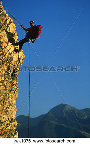 Stock Image of Rapelling in the Wasatch Mountains of Utah with.
