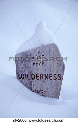 Stock Photography of Trail sign in the Lone Peak Wilderness in.