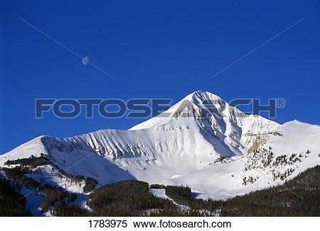Stock Image of Lone Peak view with moon above 1783975.