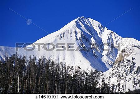 Stock Photography of Lone Peak with moon overhead u14610101.