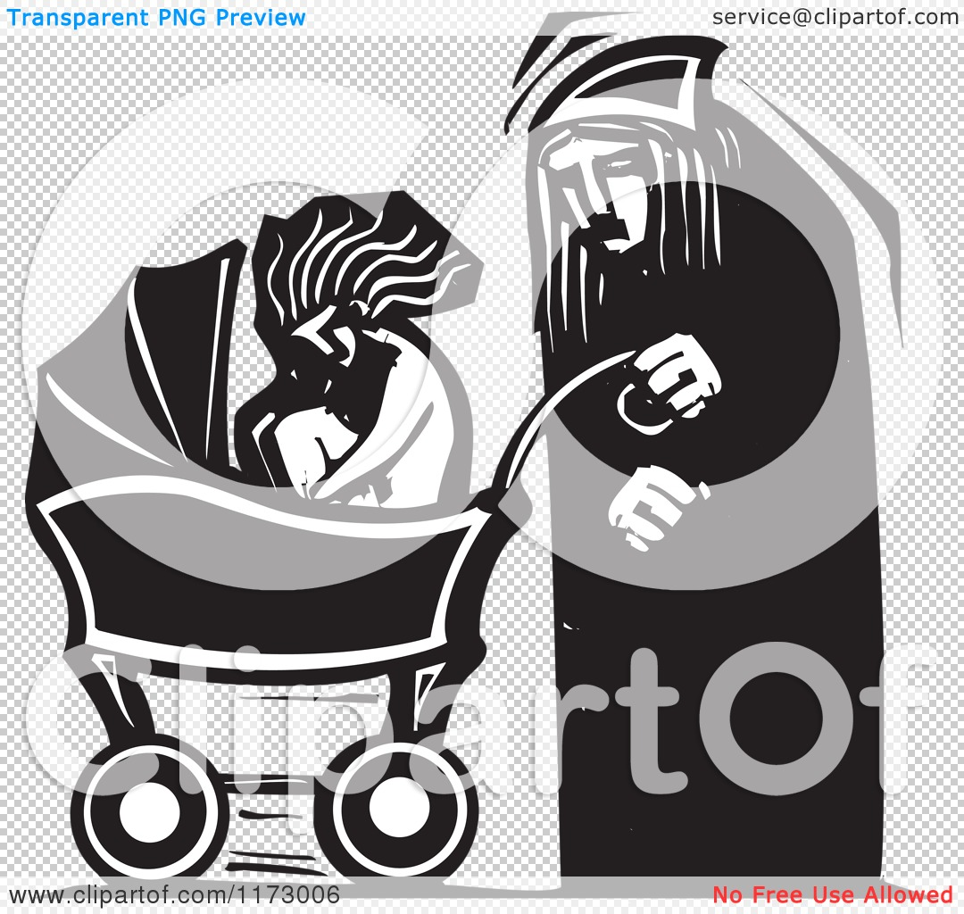 Clipart of an Old Man and a Baby in a Carriage, Black and White.