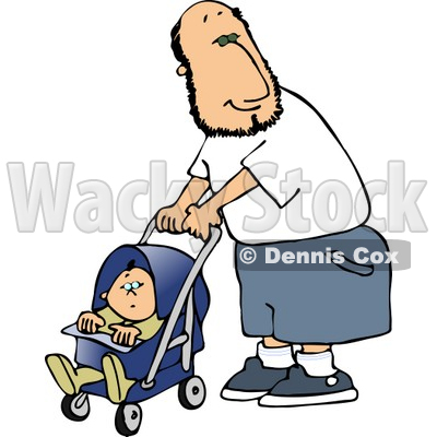 Lone stroller clipart #2