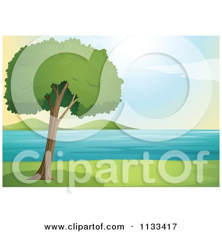 Cartoon Of A Lone Tree By A Lake.