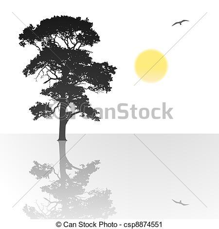Vector Clip Art of Lone Tree.