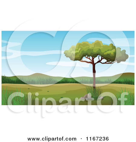 Cartoon of a Lone Tree in a Valley.