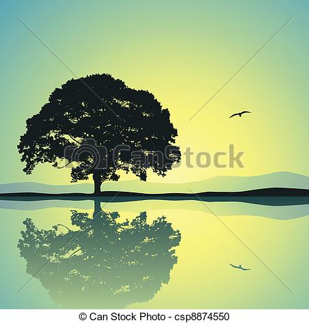 Vector Clipart of Lone Tree.