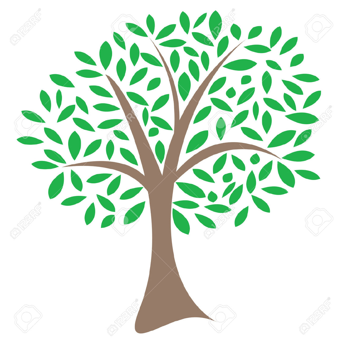 Vector Image Of A Lone Tree With Leaves In A Random Pattern.
