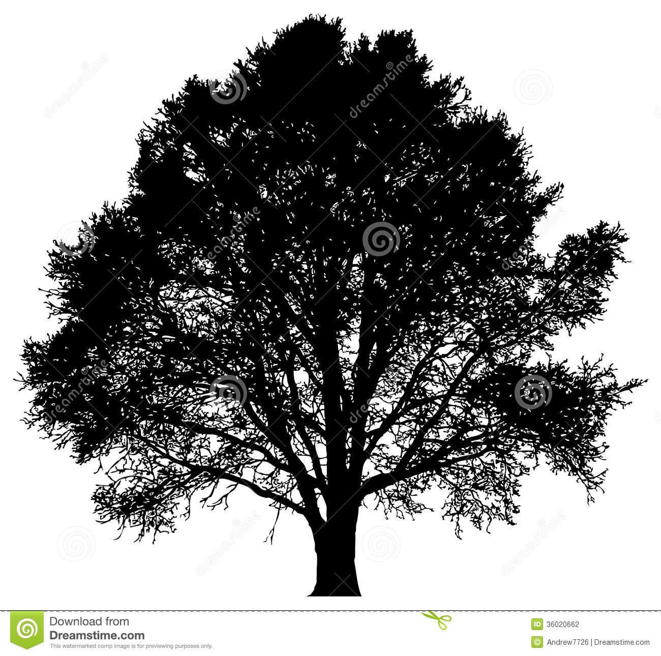 Silhouette Of A Lone Tree Royalty Free Stock Photo.