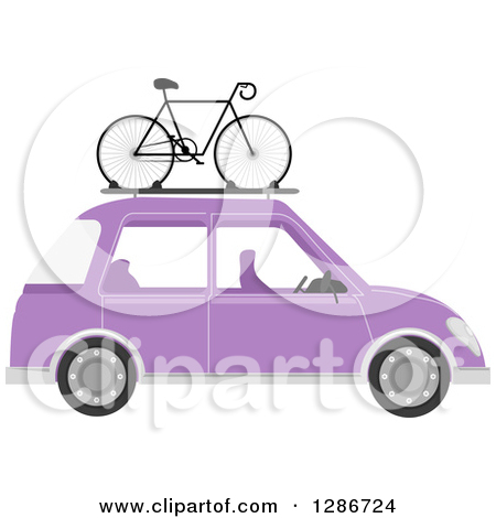 Clipart of a Cartoon Group of Caucasian People Car Pooling.