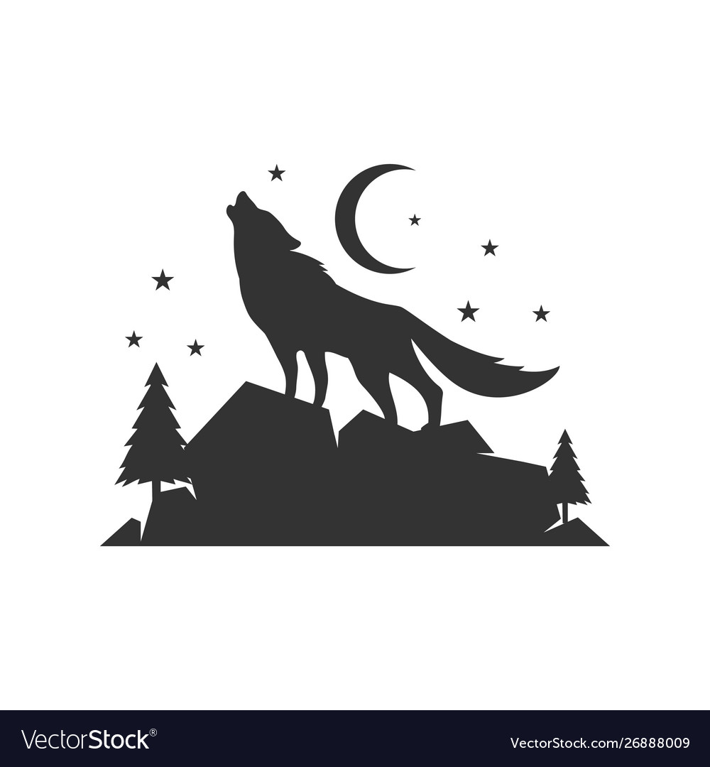 A lone wolf logo design background concept.