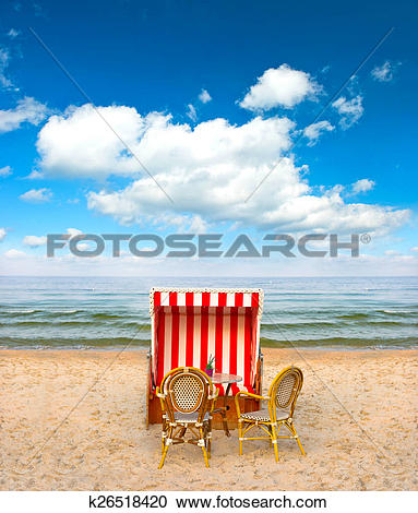 Stock Photography of lonely beach chair in cafe on the Baltic Sea.
