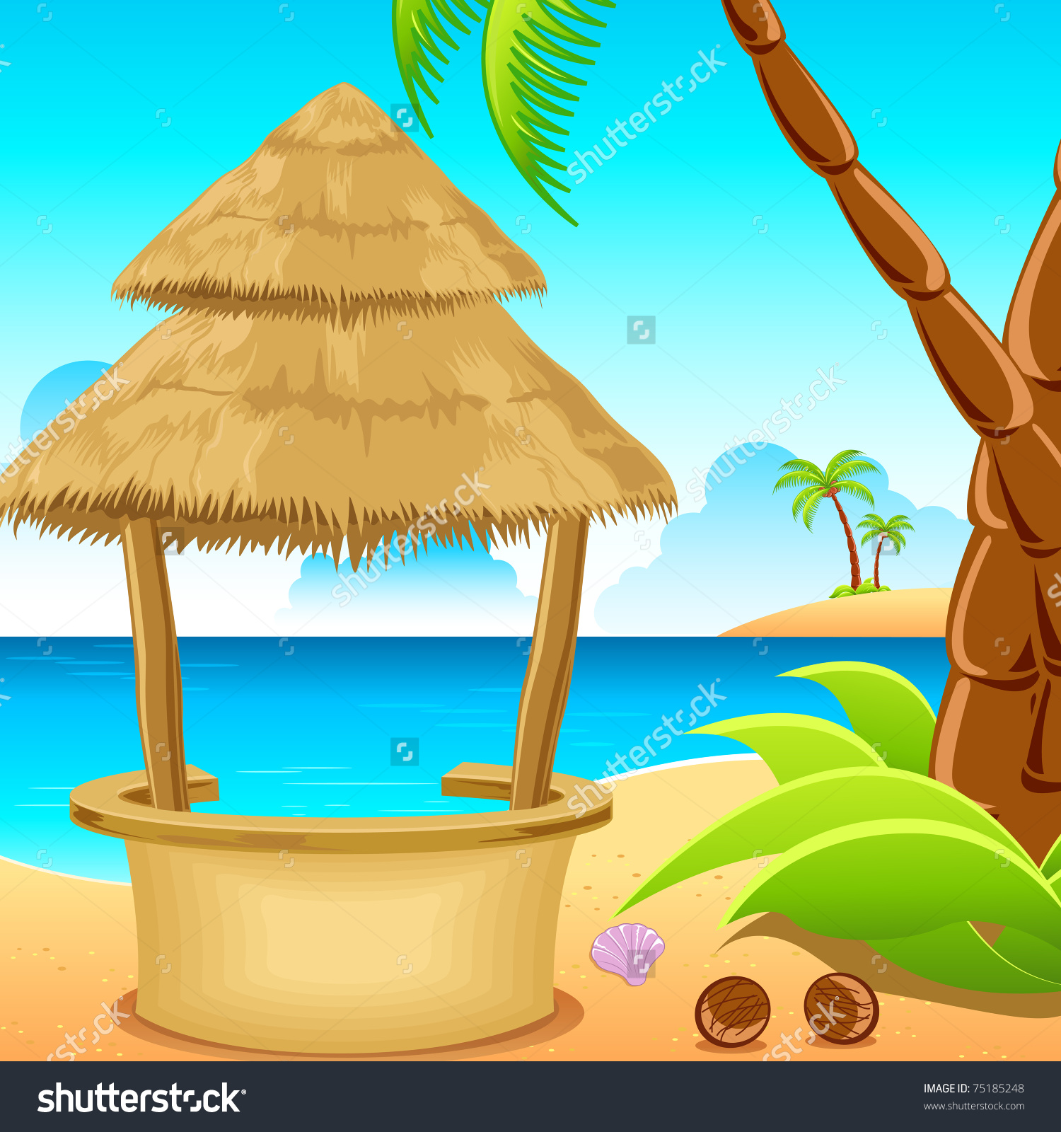Illustration Straw Hut On Lonely Beach Stock Vector 75185248.